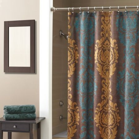 The Correge shower curtain is detailed with a large scale damask d ...