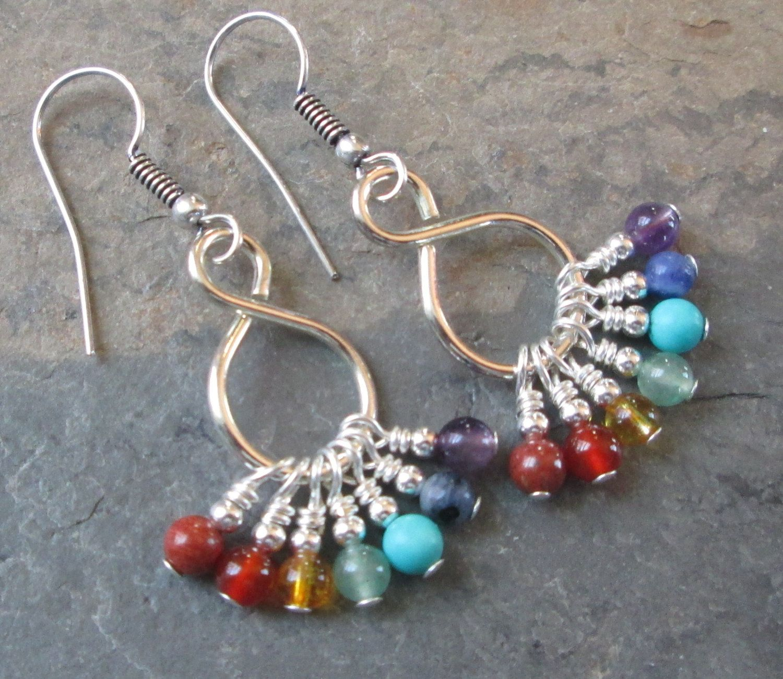 7 Chakra Earrings Gemstones Metaphysical Jewelry Hazel Glass Eye Silver Wire Wrap Pendant By Kimsjewels On Etsy Pumpkinhollowcreatns Gemstone Necklace
