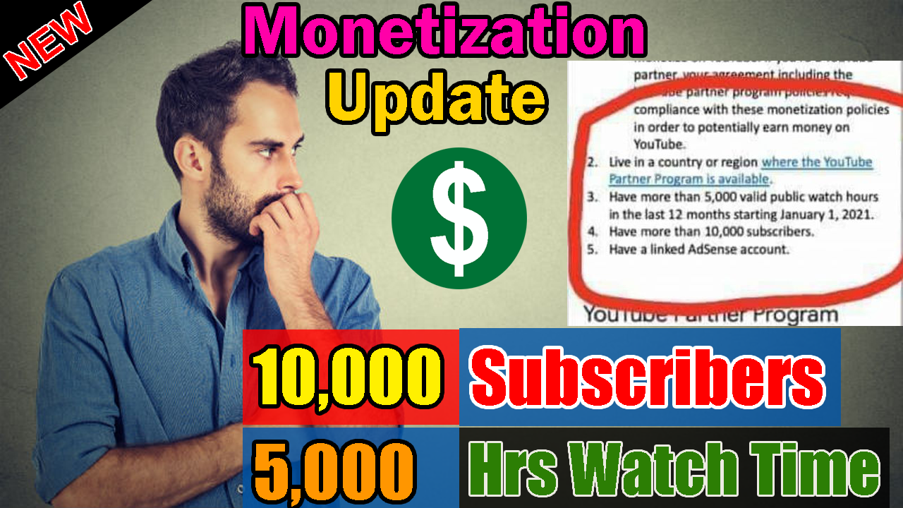 Youtube Monetization Policy 5 000 Hrs Watch Time And 10 000 Subscribers Youtube New Update Youtube News Youtube Monetize