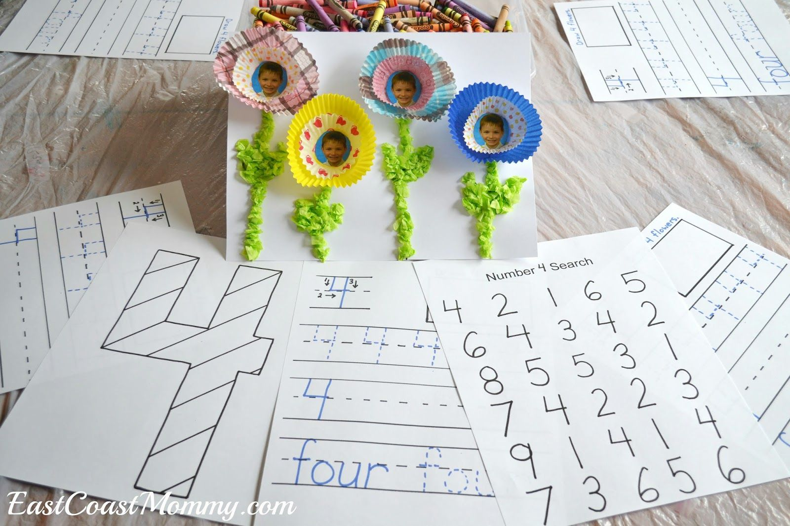 Number Crafts Number Four Spring Flowers Craft