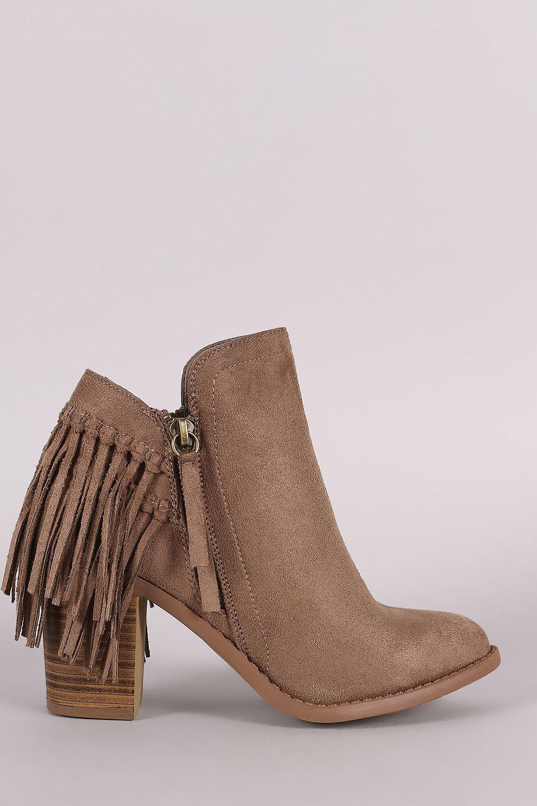 Wild Diva Lounge Suede Fringe Chunky Heeled Booties  #zoparwomenfashion #dresses #pants #styles #summer #tops #jeans #WomenClothing #clothes #WomenClothes