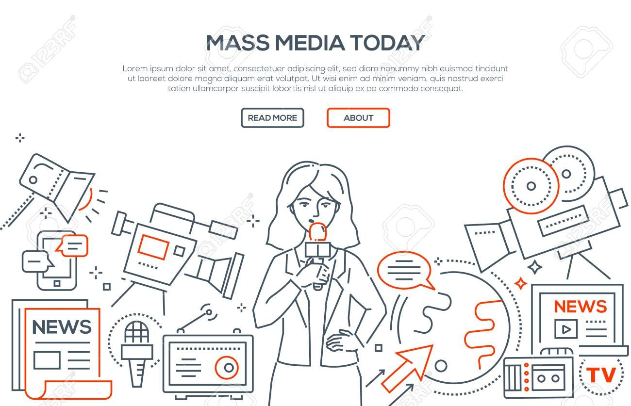 Mass Media Today Modern Line Design Style Illustration