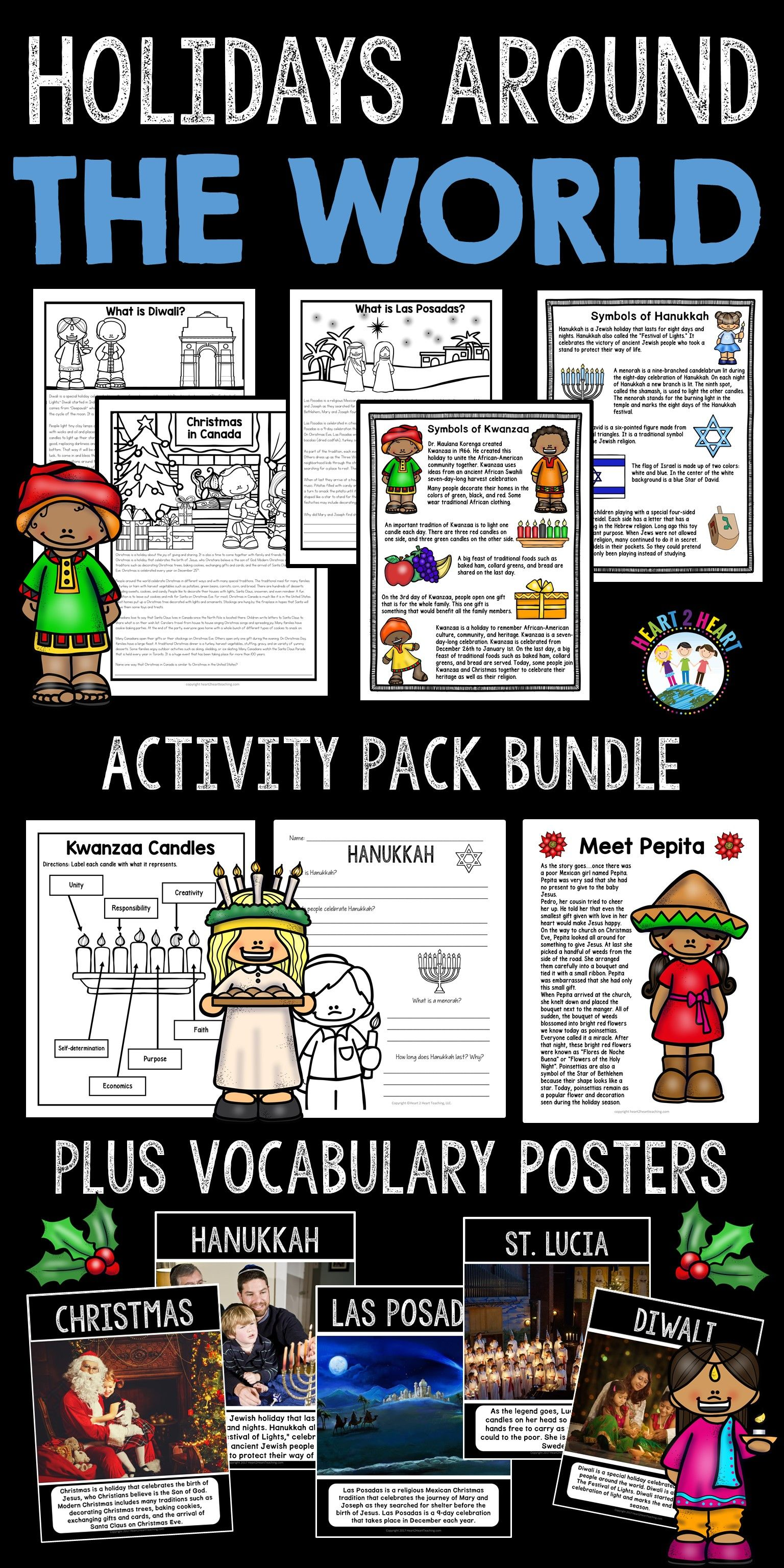 Christmas Activities Holidays Around The World Bundle 7 Different Countries
