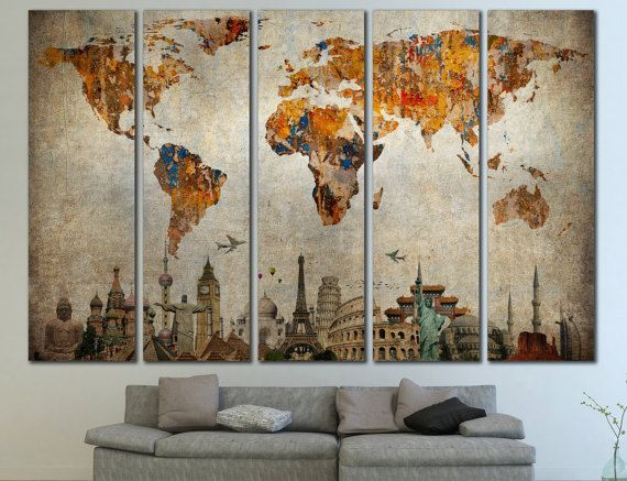 Large world map panels poster decor canvas world map print multi large world map panels poster decor canvas world map print multi panel wall gumiabroncs Gallery