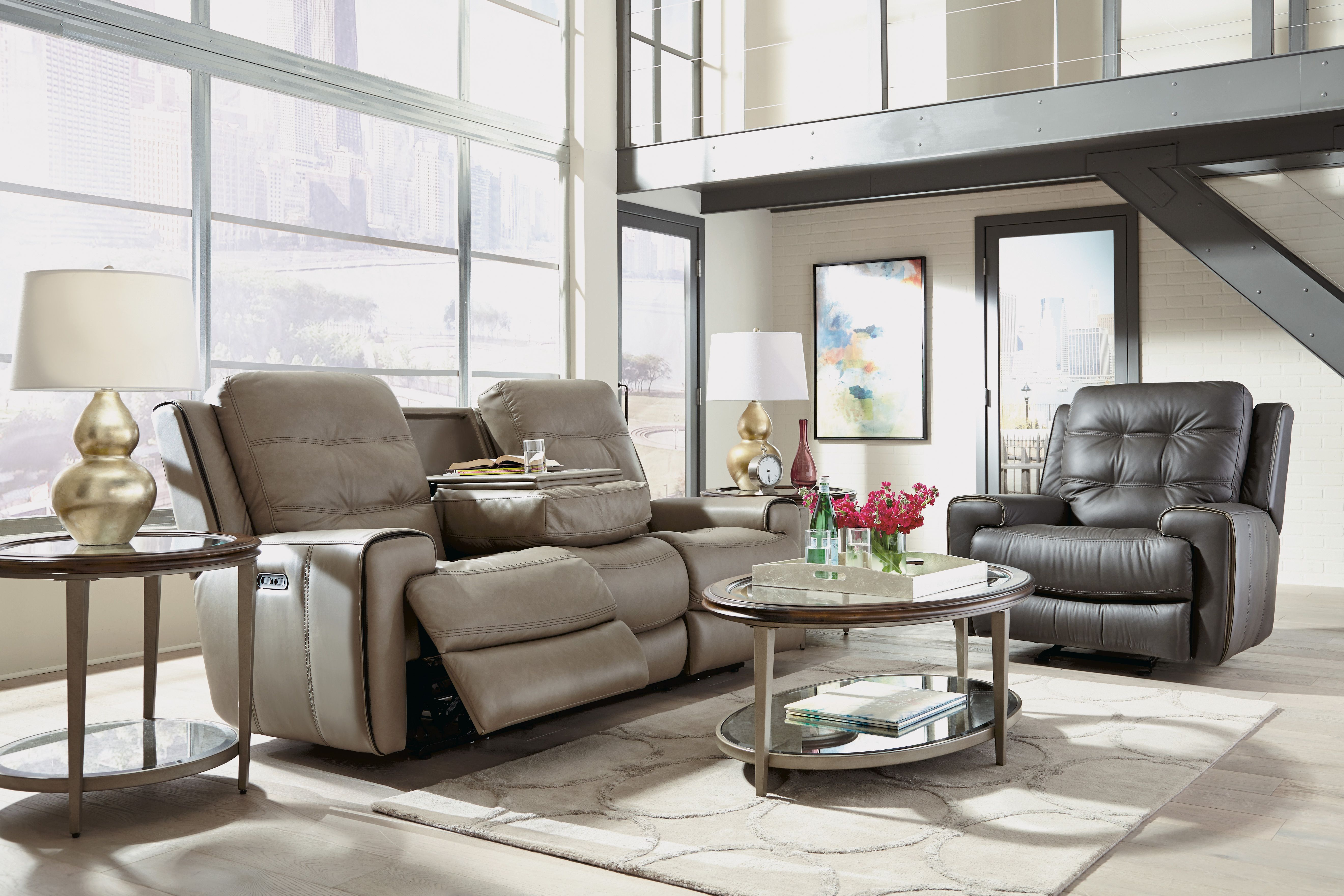 Flexsteel Wicklow Leather Power Reclining Sofa With Power Headrests