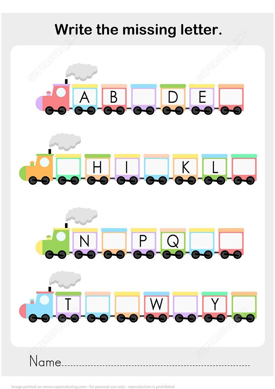 Fill In The Missing Letter In The Alphabet Worksheets In 2020 Missing Letter Worksheets Kindergarten Worksheets Printable Train Activities