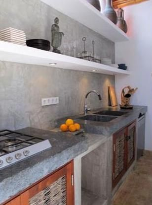 Cocinas con bajo mesada de obra en microcemento buscar con google decoracion en 2019 pinterest - Microcemento en cocinas ...