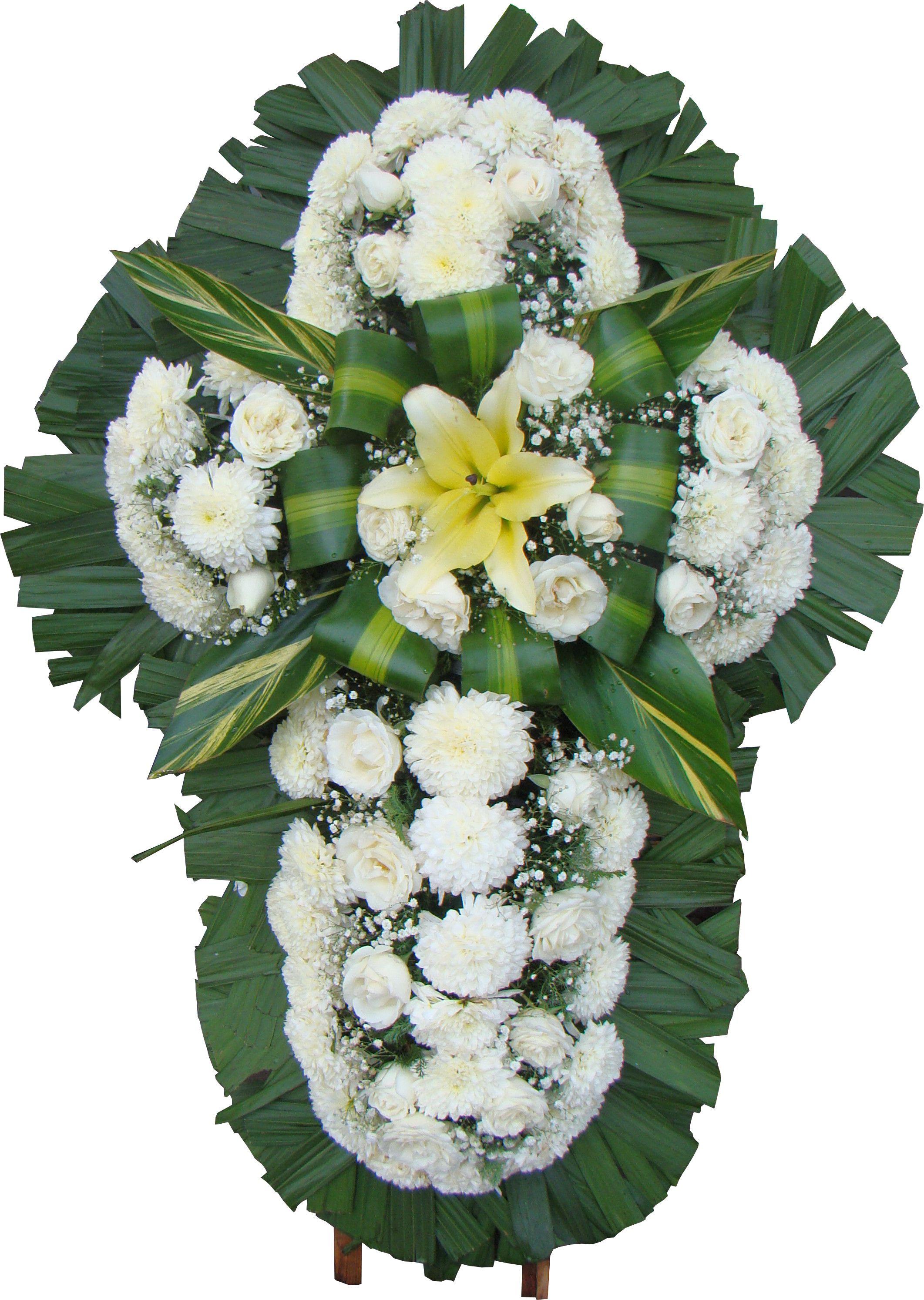 Corona de flores para funeral en forma de cruz de flores