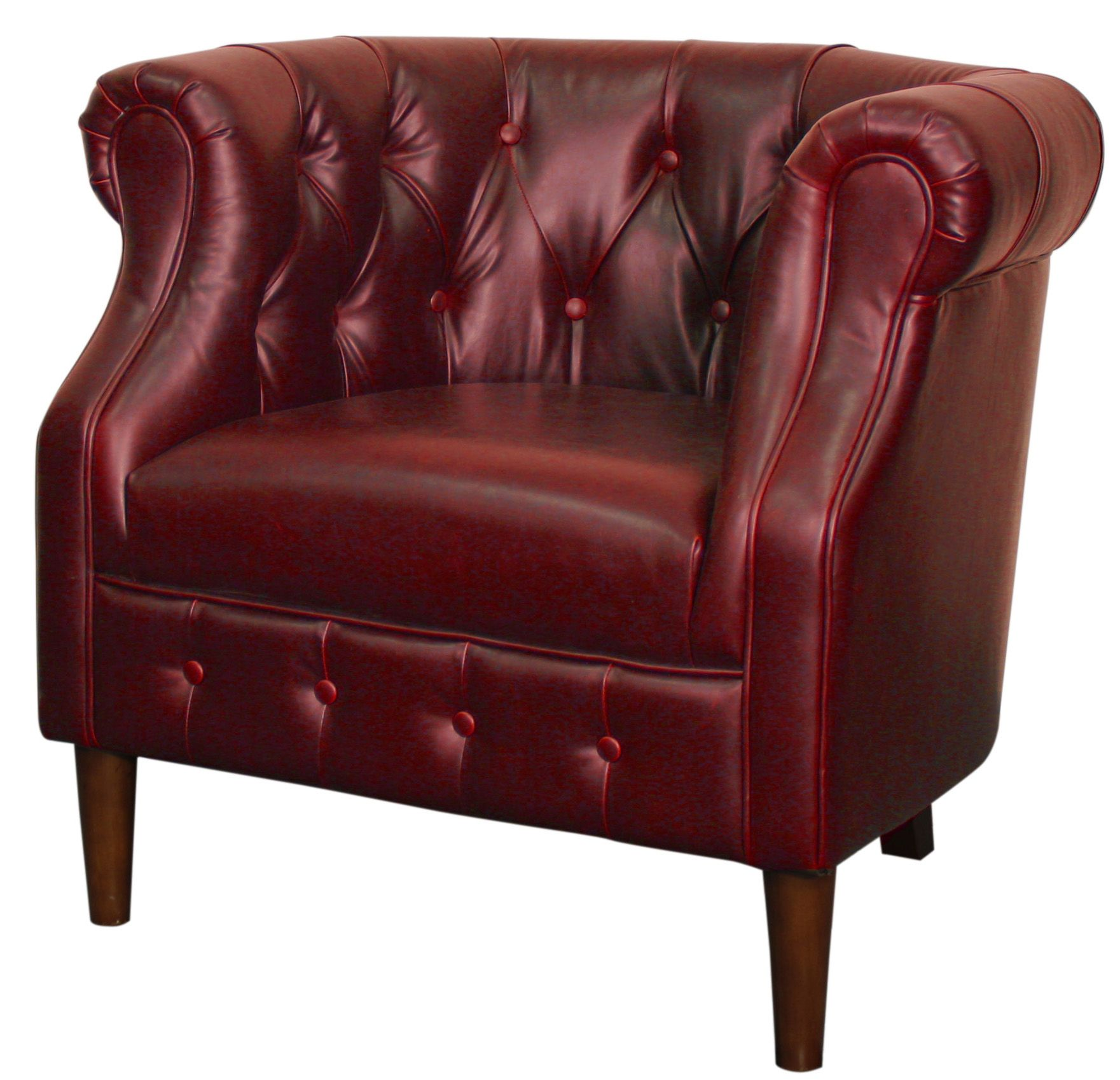Nice Luna Bonded Leather Tufted Chair In Vintage Red. Constructed In Solid Birch  Wood With Brown Leg Color. Other Colors Include Vintage Dark Brown, ...