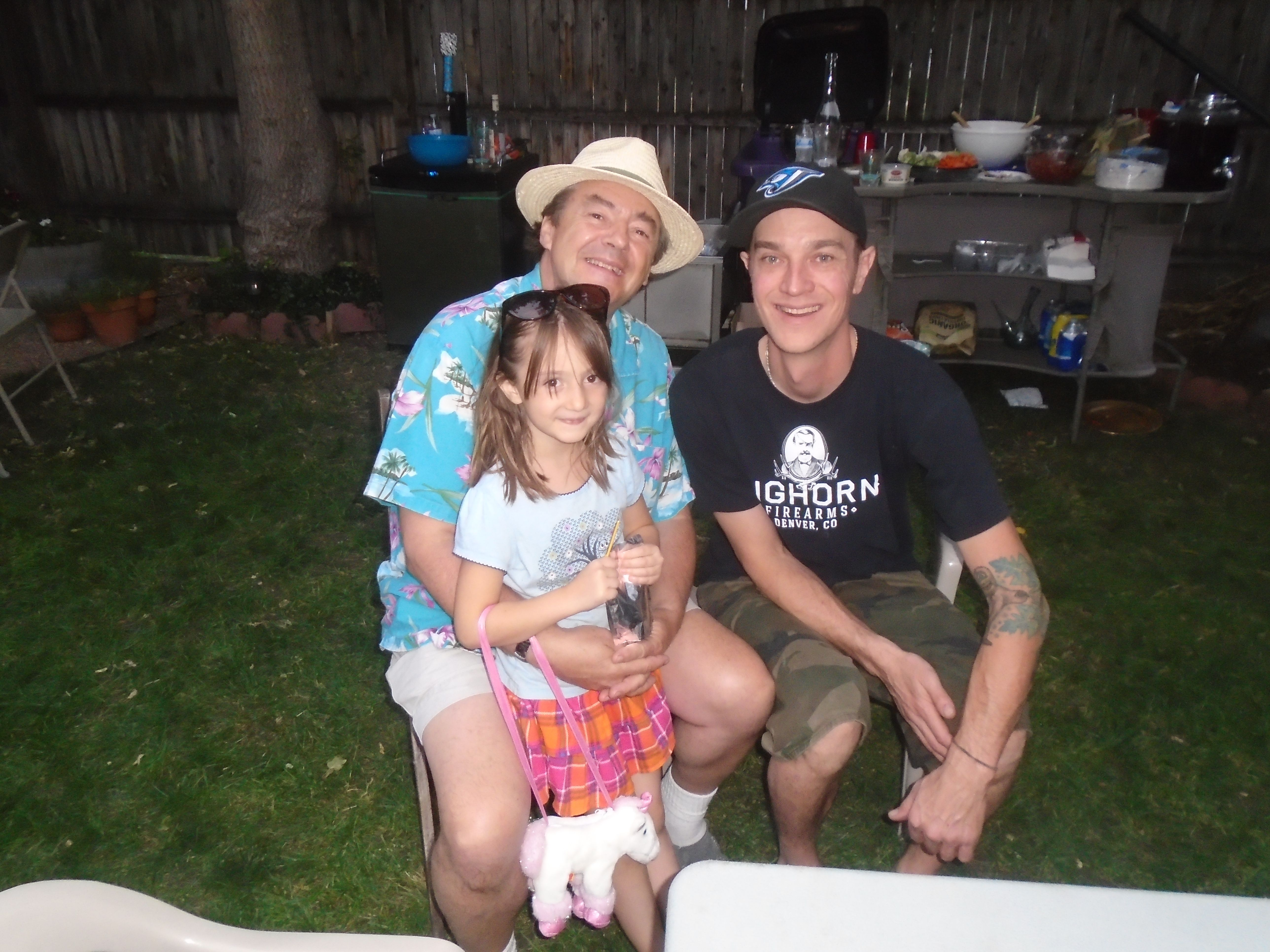 Dad , Violet , Dave Berry Aug 2015 at Trevors annual bash