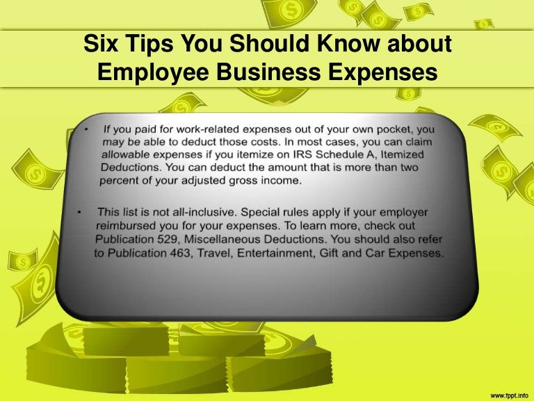 If you paid for work-related expenses out of your own pocket, you - business expense spreadsheet for taxes