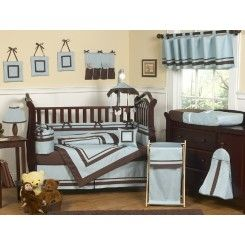 Hotel Blue and Brown 9 Piece Crib Bedding Collection