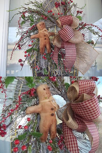 Antiques: Primitive~Gingerbread Man ~Twig~ Door~Wreath~ Burlap And Checked Bow~Berries~ BUY IT NOW ONLY: $30.0