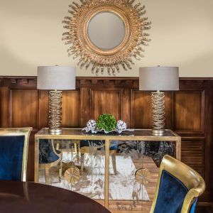 Blue Velvet Glam Dining Room - Kannapolis Project by Lauren Nicole Designs. Modern Traditional Interior Design.