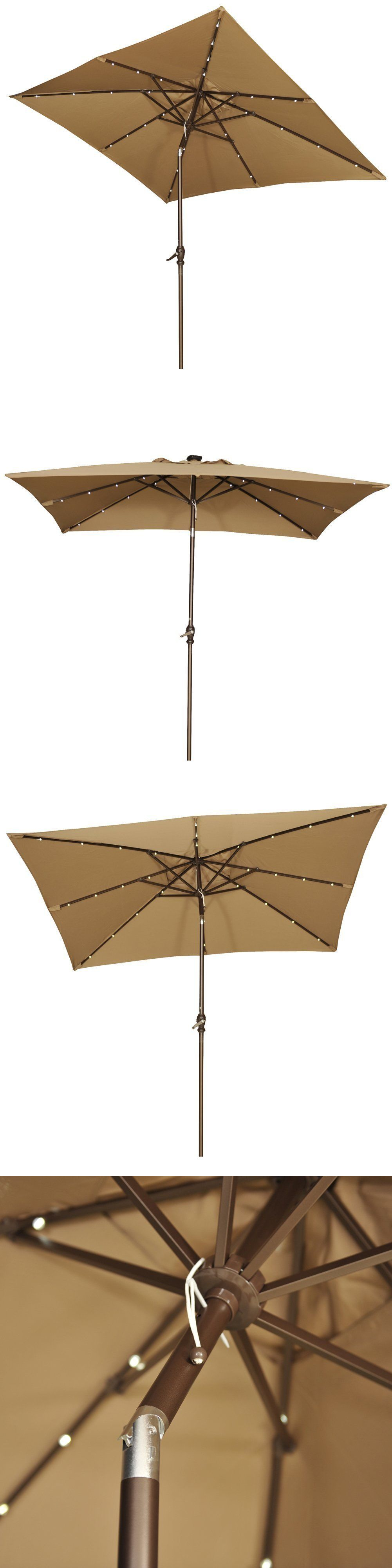 Rectangular Patio Umbrella With Solar Lights Umbrellas 180998 7X9 Ft Rectangular Patio Umbrella W Solar Powered