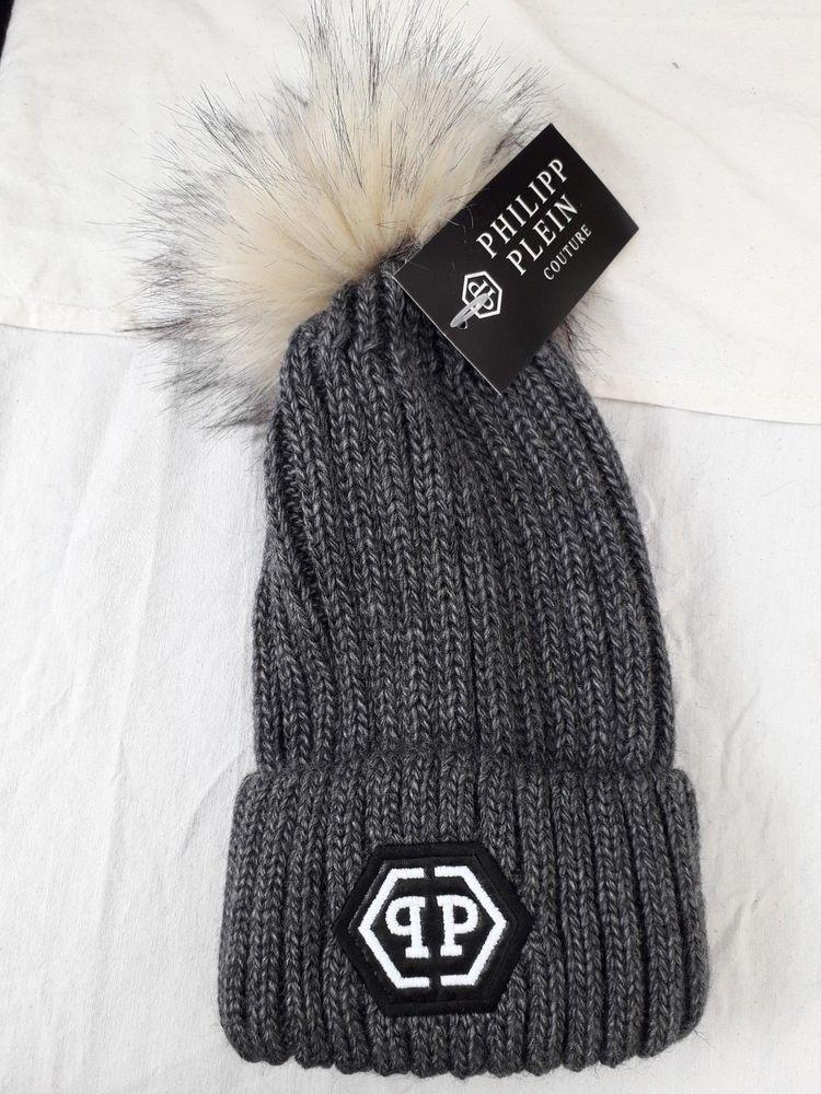 032b7fddc31 PHILIPP PLEIN Unisex Women s Men s Winter Wool Beanie Hat Pom Pom Fur Grey   fashion  clothing  shoes  accessories  womensaccessories  hats (ebay link)