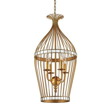 Dimond Lighting Five Cays Pendant In Gold Leaf And Clear Mirror