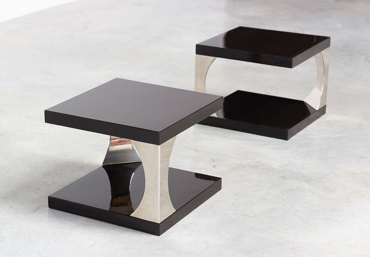 Pair Modern Italian 70s Two Tier Side Tables Azucena Vinterior