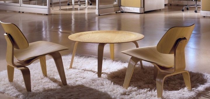 Eames Molded Plywood Chair and Coffee Table Charles & Ray Eames Herman Miller