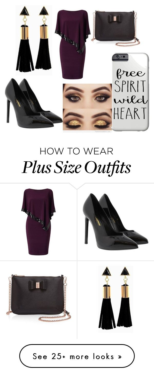 """""""Untitled #3"""" by micu-jojol on Polyvore featuring Adrianna Papell, Ted Baker and Yves Saint Laurent"""