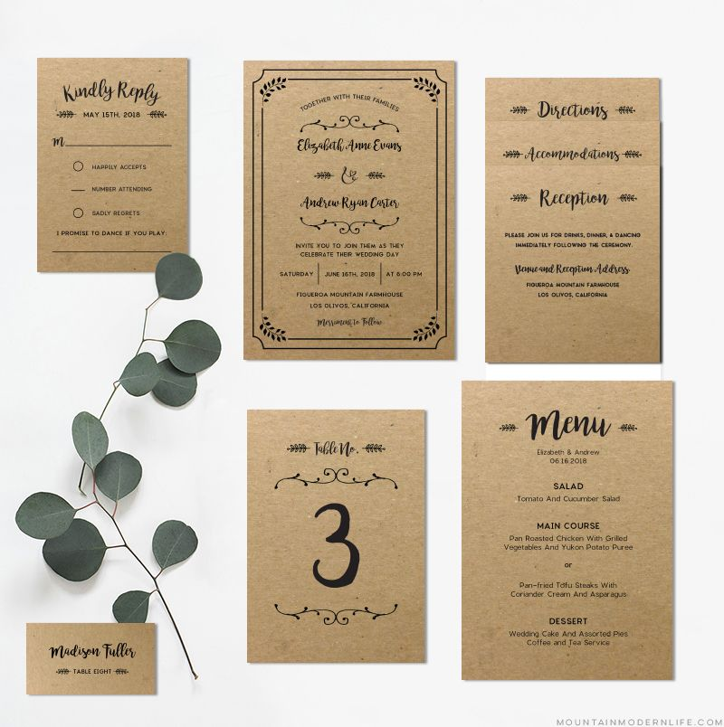 FREE Printable Wedding Invitation Template | Diy wedding invitations ...