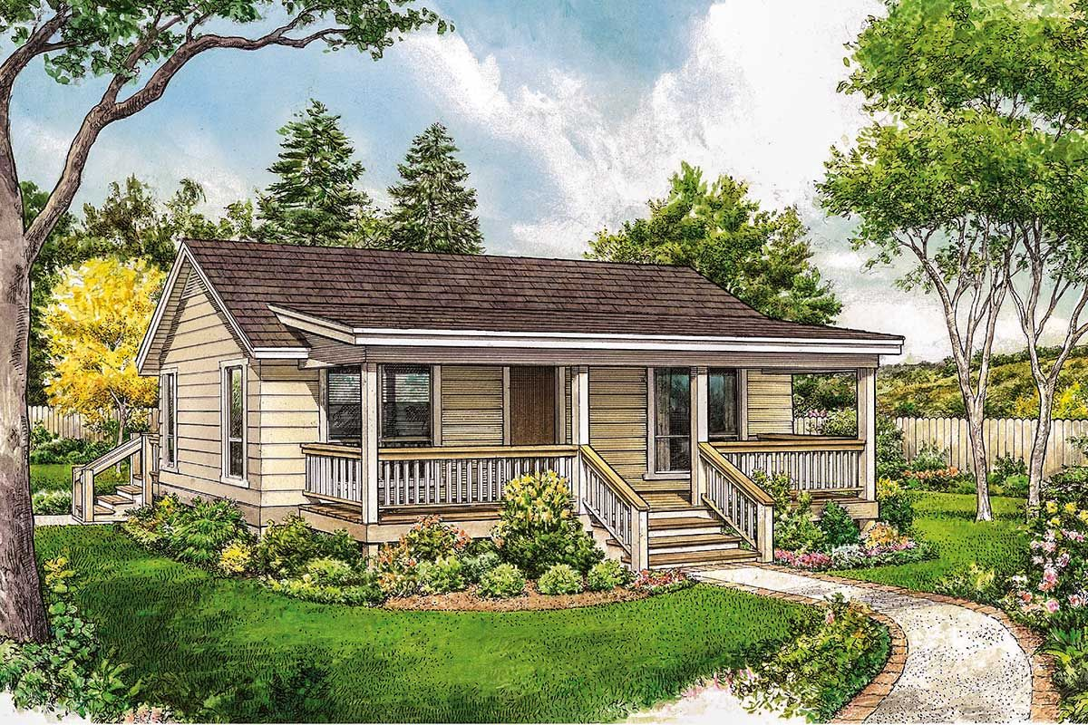 Plan 46068hc Economical Ranch In 2020 Cottage Style House Plans Small House Exteriors Cottage House Plans