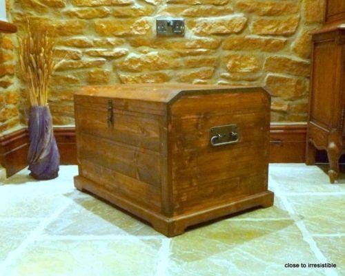 Vintage Oak Waxed Medieval Gothic Storage Chest Trunk