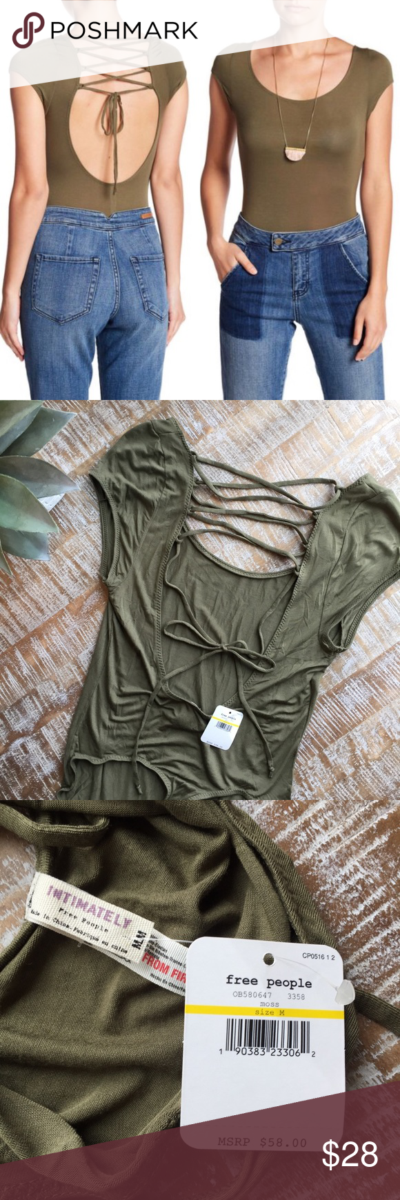 f33b18b009 Free People Body Suit Free People All About the Back Bodysuit in Moss Green.  Size   Medium. Thong style