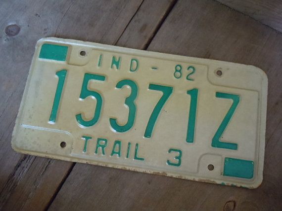 Vintage License Plate Indiana 1982 Light Gold by PerchAndPatina