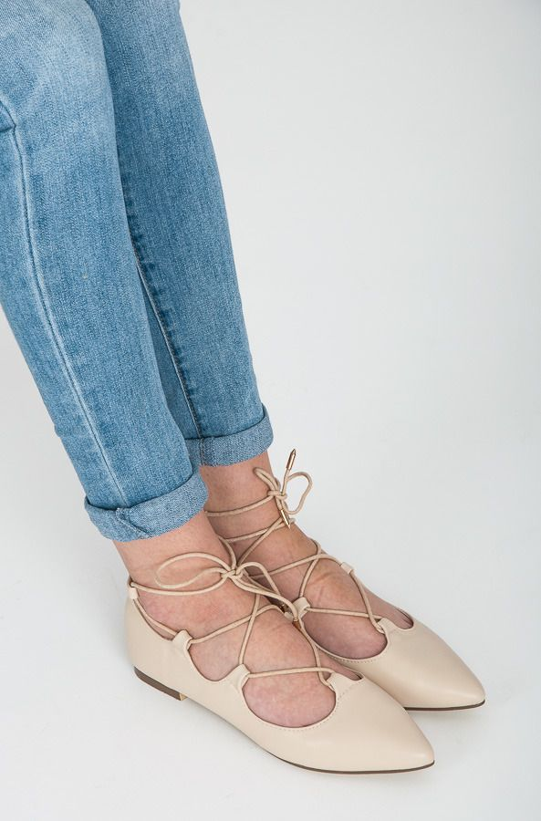 Wiazane Baleriny Lace Up Lace Up Flat Fashion