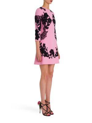 Dolce & Gabbana - Lace Appliqué Wool Crepe Mini Dress