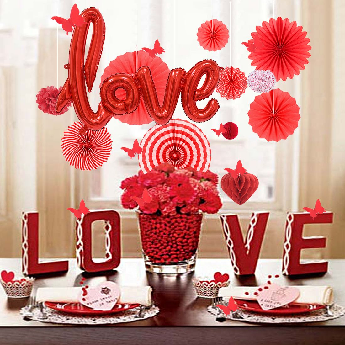 Red Love Letter Foil Balloon Anniversary Wedding Valentines Day