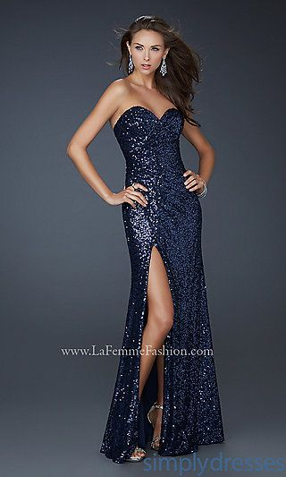 25ee6651b49 Possible Marine Corps Ball dress. Floor Length Strapless Sequin Gown by La  Femme at SimplyDresses.com