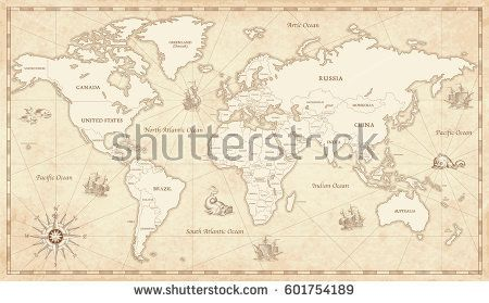 Great detail illustration of the world map in vintage style with all great detail illustration of the world map in vintage style with all countries boundaries and names gumiabroncs Choice Image