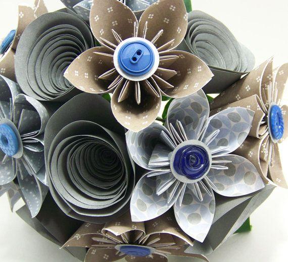 Light Blue & Gray Kusudama Paper Flower Wedding Bouquet HandMadeOrigaMe at Etsy