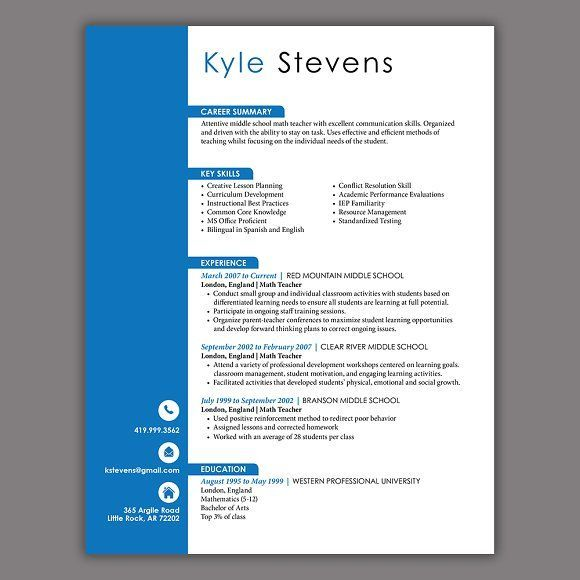 cool Masculine Resume Template CreativeWork247 - Fonts, Graphics