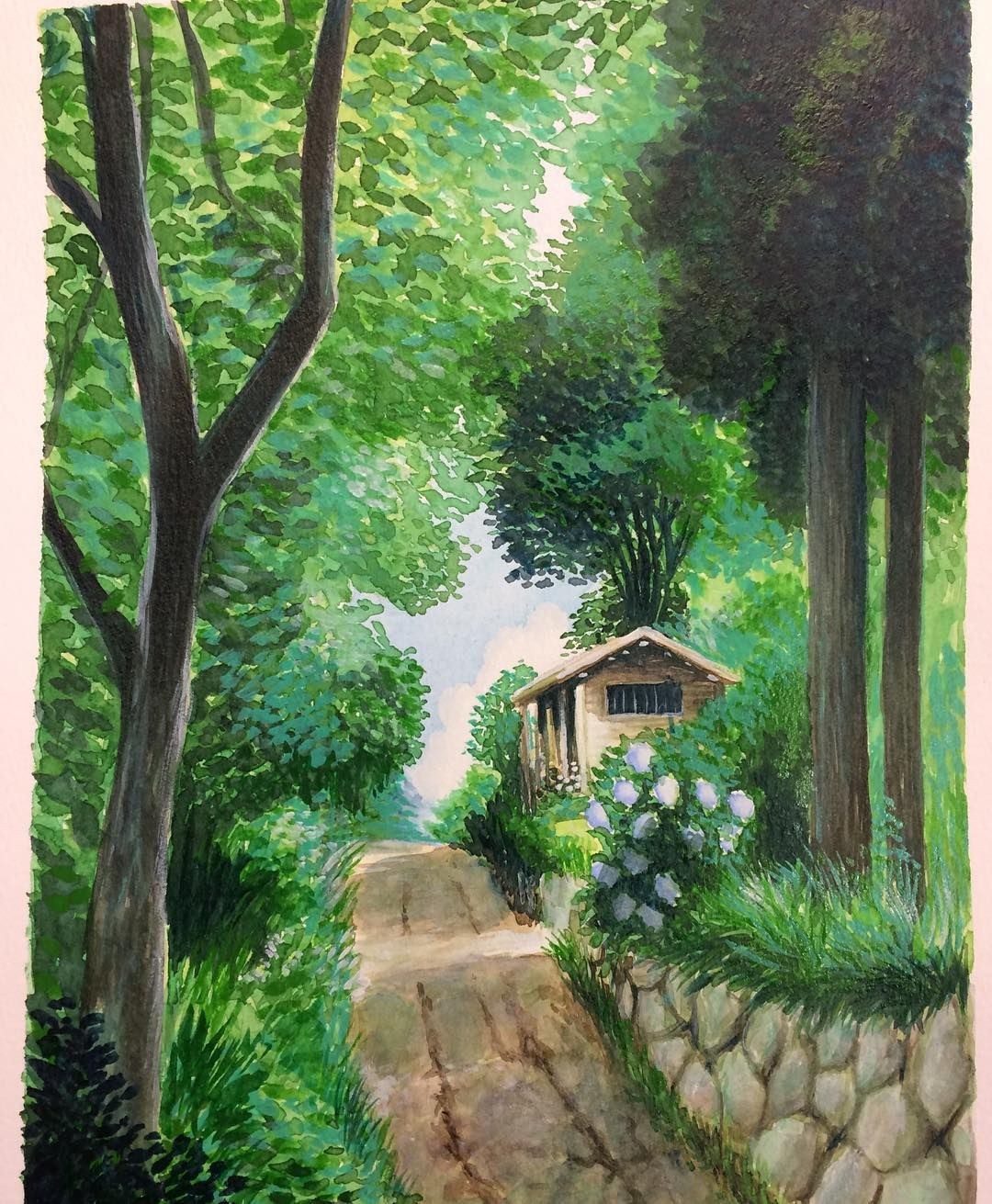 Watercolor Study Of A Studio Ghibli Background Not Sure Which Movie I Did This A Couple Weeks Ago And Fo Studio Ghibli Background Studio Ghibli Art Ghibli Art