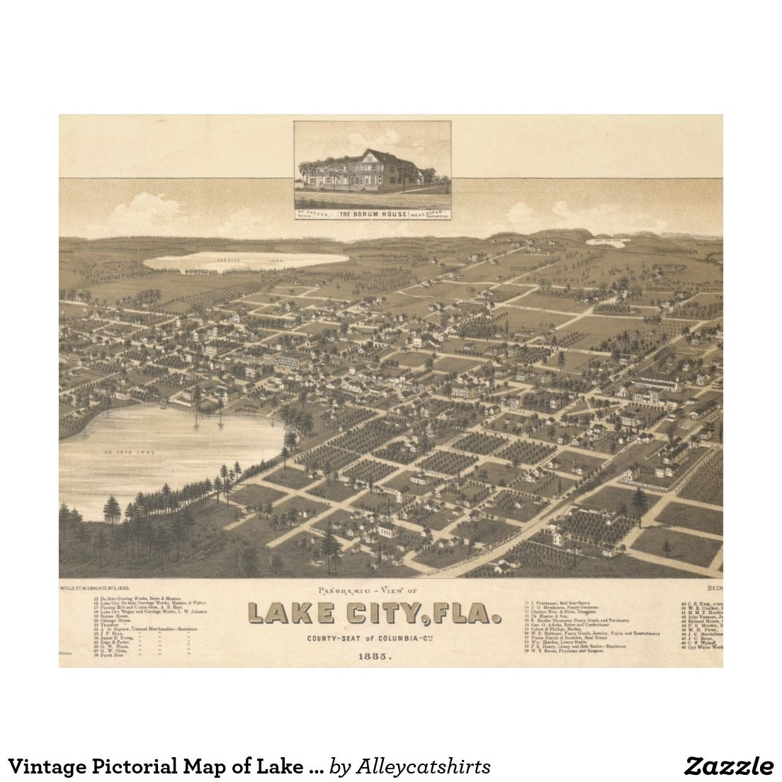Map Of Lake City Florida.Vintage Pictorial Map Of Lake City Florida 1885 Fleece Blanket