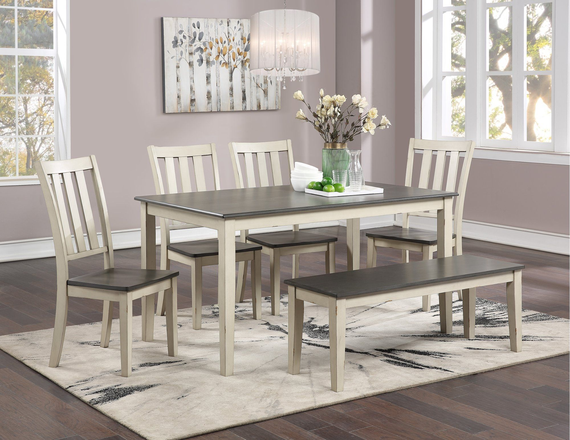 Farmhouse White And Gray 6 Piece Dining Room Set Remy Rc Willey Furniture Store In 2020 Brown Dining Room Solid Wood Dining Room Solid Wood Dining Room Set #rc #willey #living #room #sets