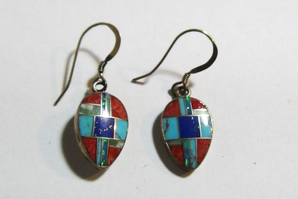 Native American Zuni Sterling Silver Lapis Turquoise Coral Opal Inlaid Earrings #Jewelry #Deal #Fashion