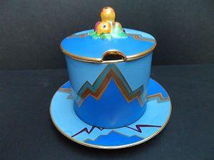 Blue Mouse Lidded Animal Pot Ceramic Sculpture