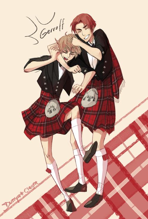 Arthur and Iain (head-canon name for Scotland) in kilts - Art by dunyeah.tumblr.com