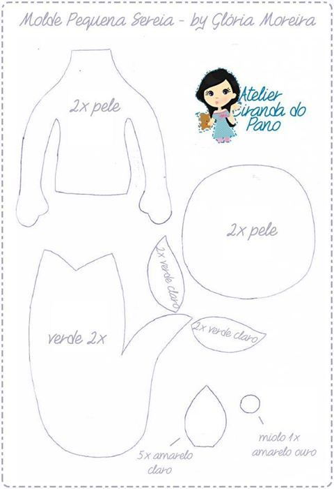 sirena | Patrones | Pinterest | Fieltro, Moldes y Muñecas