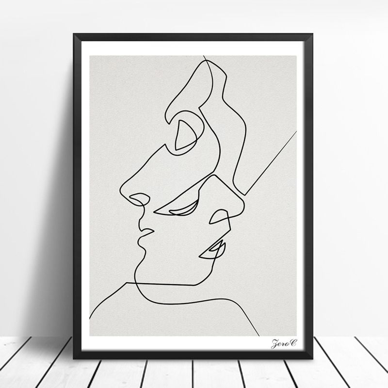 Ongebruikt KISS Een Lijn Tekening Gezicht Schetsen Minimalistische Art Canvas SN-75
