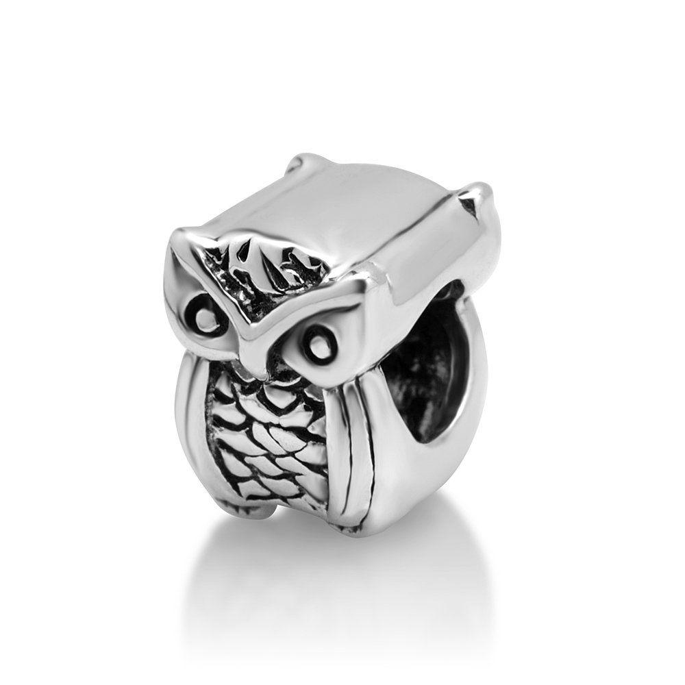économiser 887bd 46f58 Amazon.com: 925 Sterling Silver Cute Owl Bead Charm Fits ...