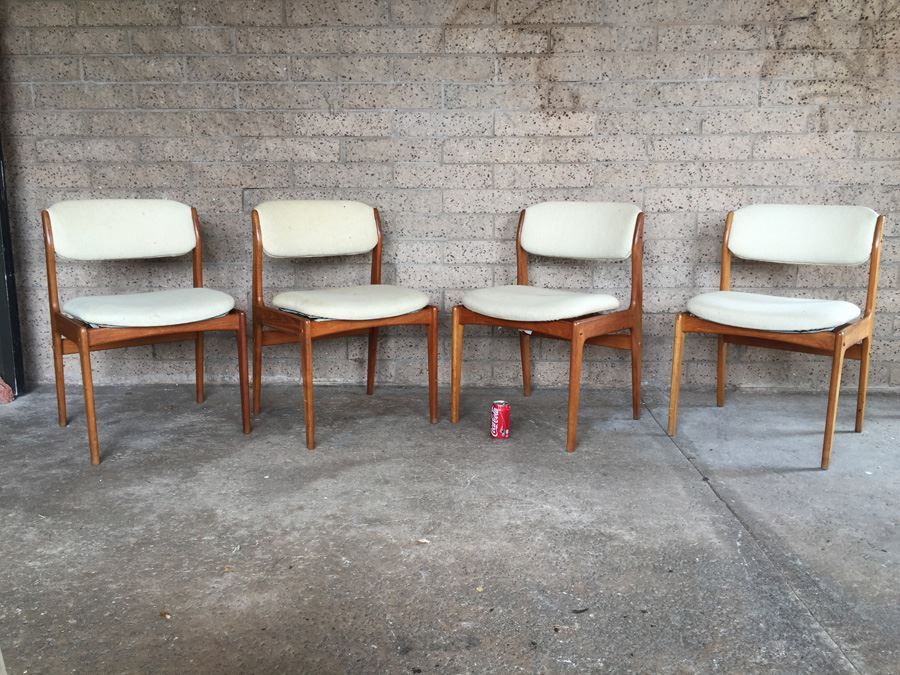 Superior Set Of 4 Mid Century Modern Teak Dining Chairs Need Reupholstering
