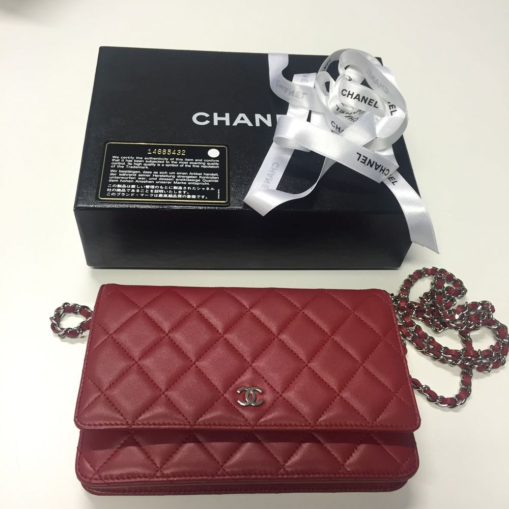 Authentic Chanel Red Woc Wallet On Chain