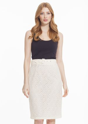 AMELIA Mid-Waist Belted Lace Pencil Skirt