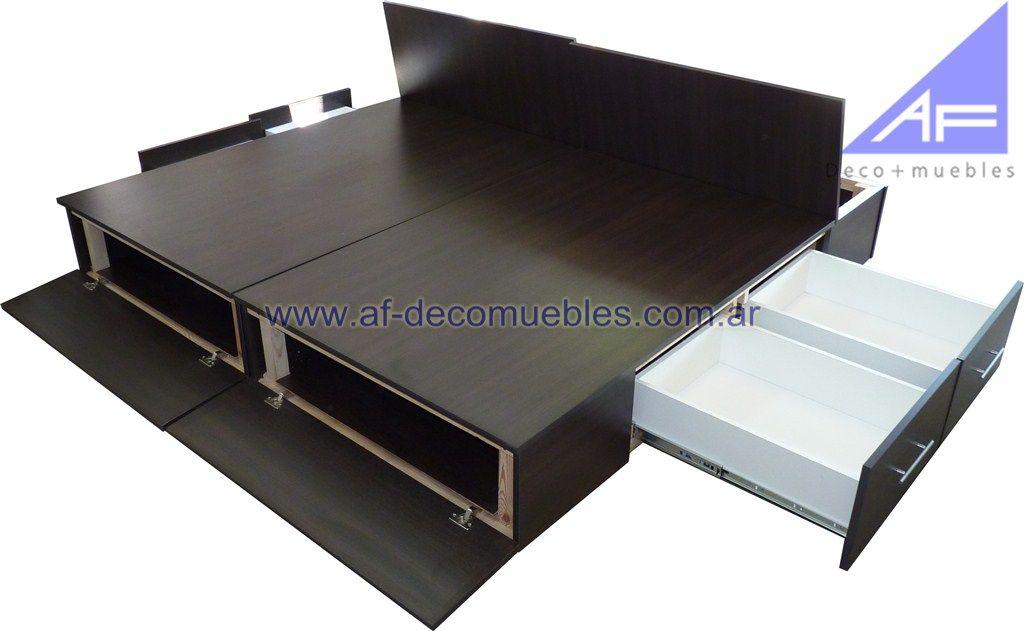 Bases cajoneras sommier para camas modernas af deco muebles melamina pinterest somier - Somier con cajones ...