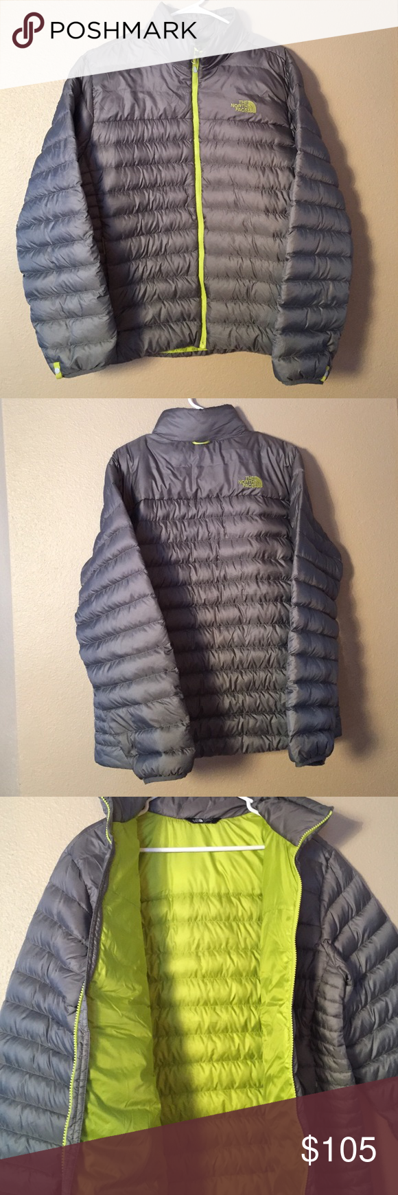 NORTHFACE lowest sale!🚨 size:L gently worn!! Mens gray NORTHFACE size large light weight puffer coat! Green zipper and inside. Shell is 100% polyester along with lining. Two zip up side pockets. See pictures for all details! North Face Jackets & Coats Puffers